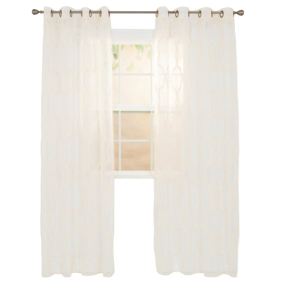 Elisa Beige Polyester Embroidered Curtain