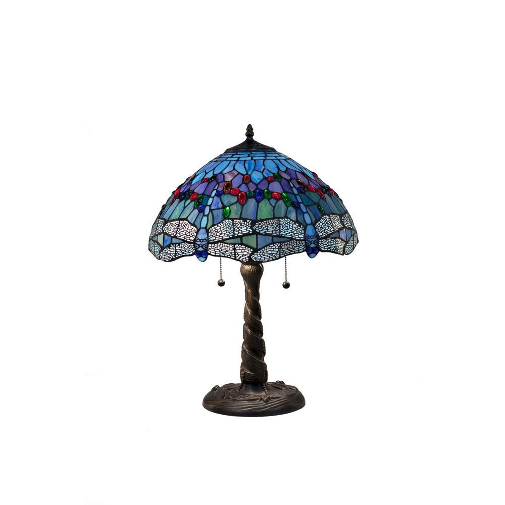 Tiffany Blue Dragonfly 26 in. Bronze Table Lamp