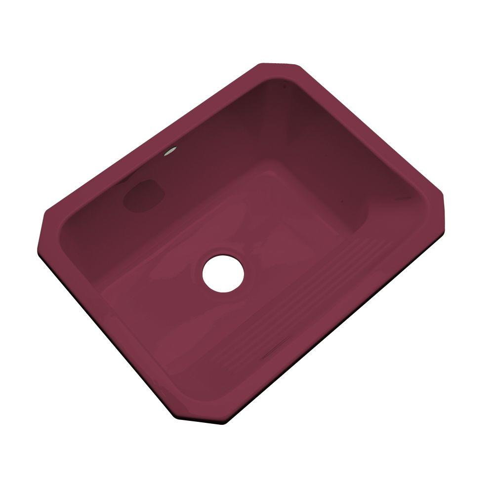Thermocast Kensington Undermount Acrylic 25x19.5x12 in. 0-Hole Single Bowl Utility Sink in Loganberry