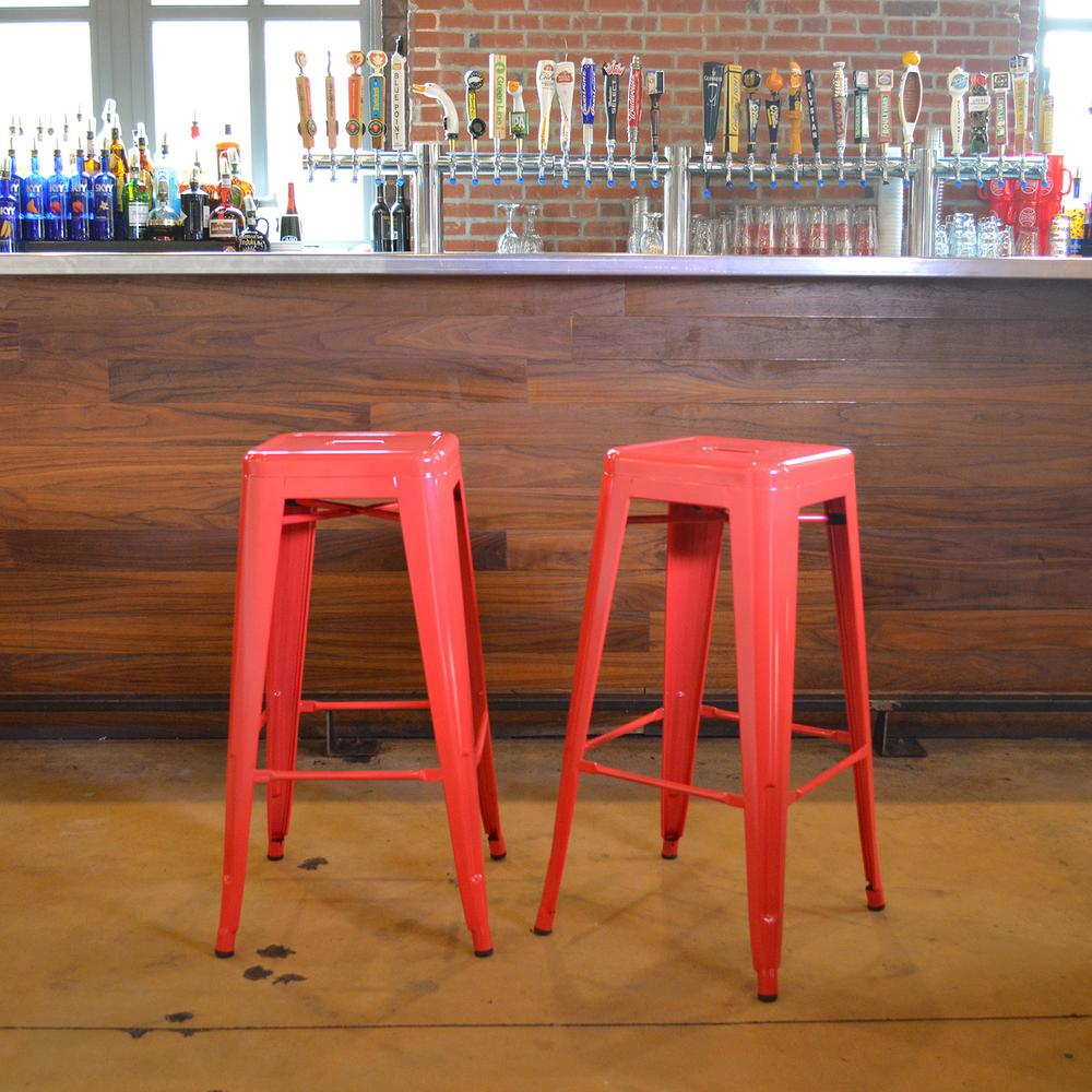 Loft Style 30 in. Stackable Metal Bar Stool in Red (Set