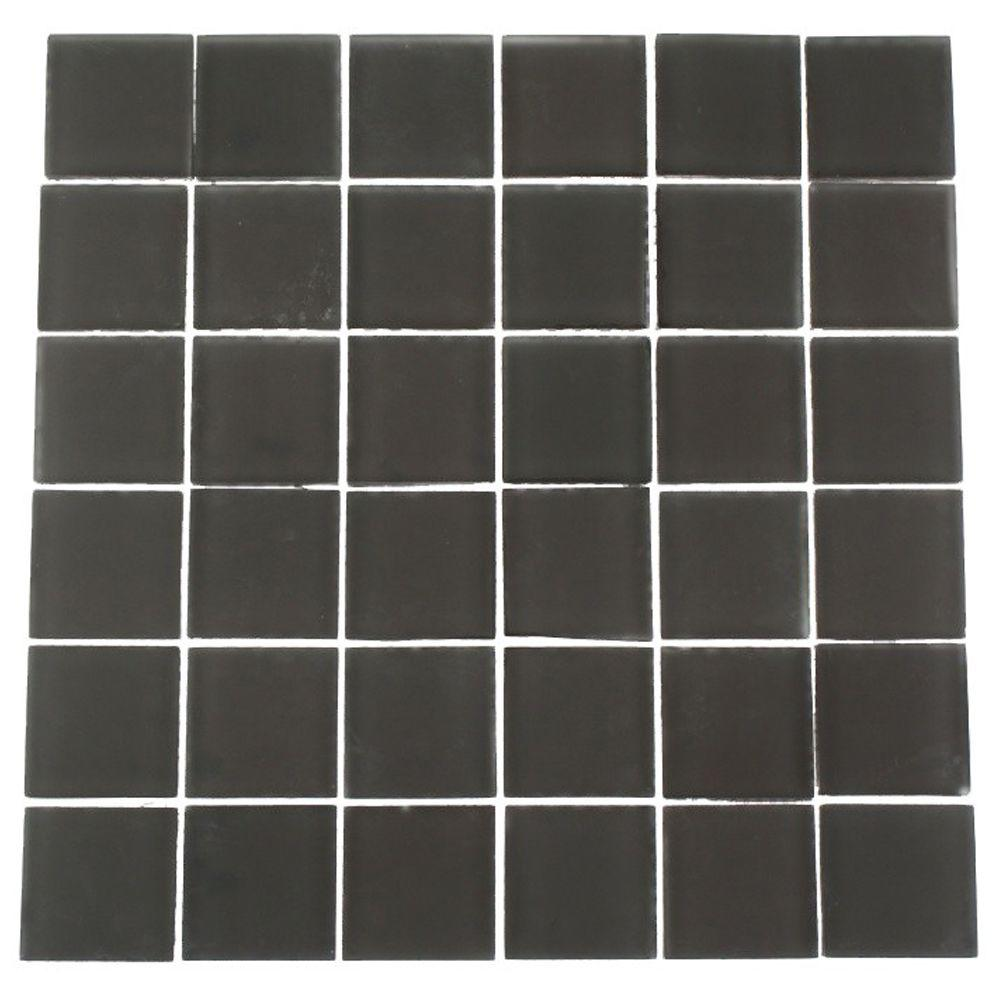 Splashback Tile Contempo Smoke Gray 12 in. x 12 in. x 8 mm Frosted Glass Mosaic Floor and Wall Tile