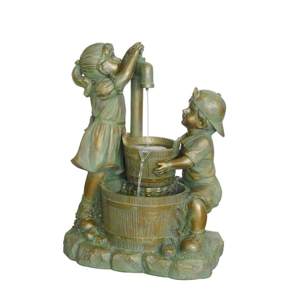 null 2-Tier Resin Kids and Oak Barrel Fountain