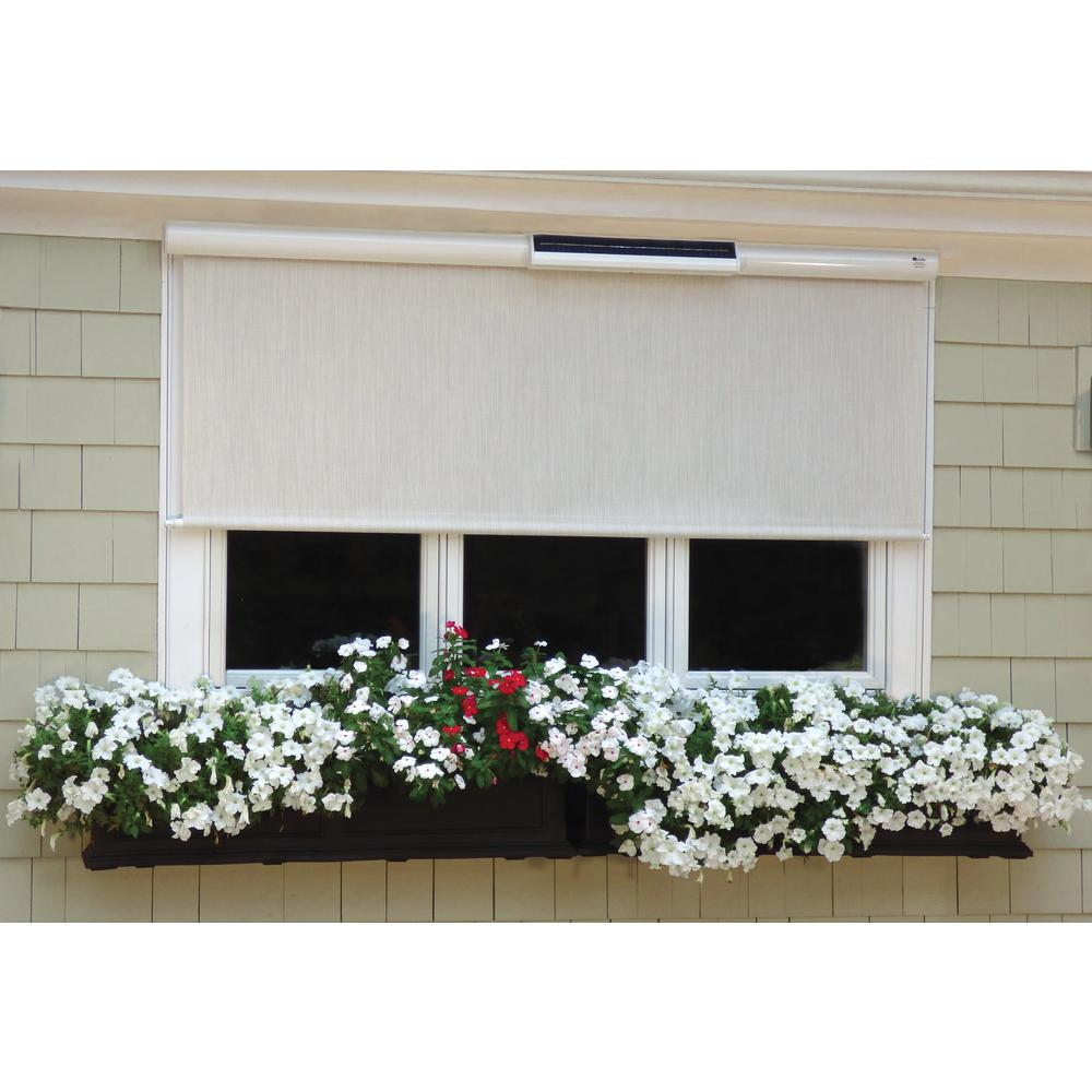 Coral White Exterior Solar Shade Solar-Powered with Full White Cassette -