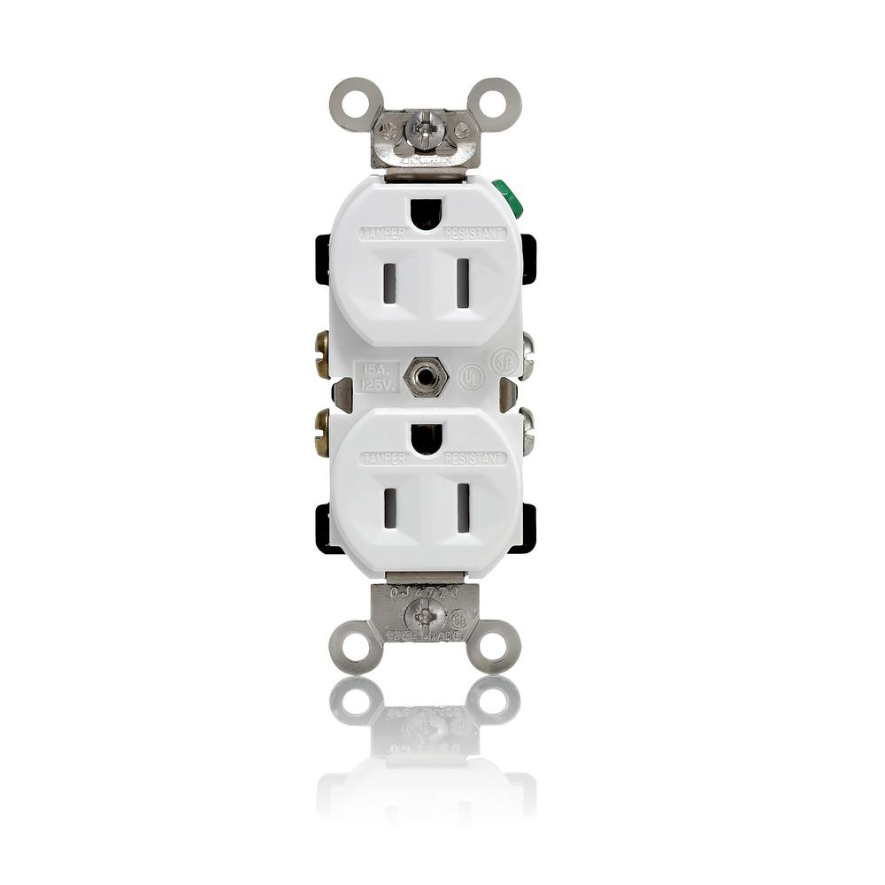 15 Amp Industrial Grade Weather/Tamper Resistant Self Grounding Duplex Outlet,