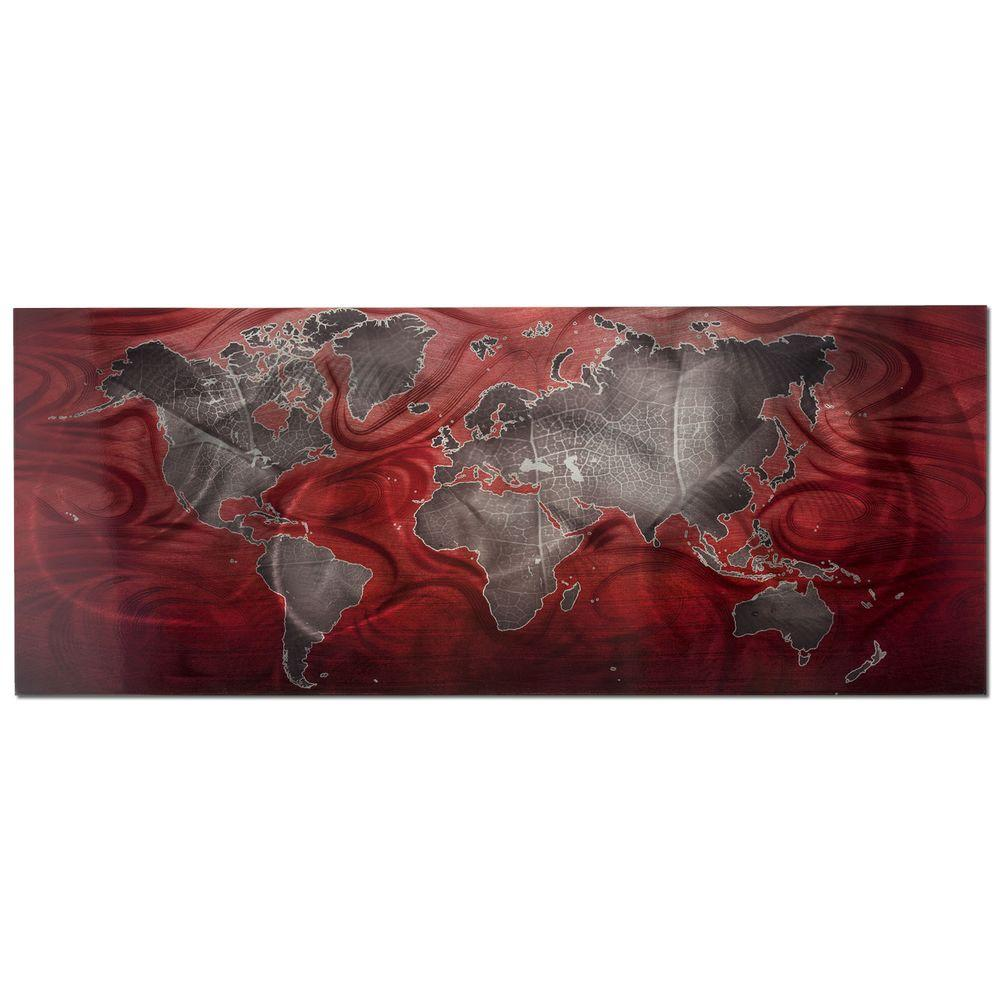 Brevium 19 in. x 48 in. Red and Pewter Land and