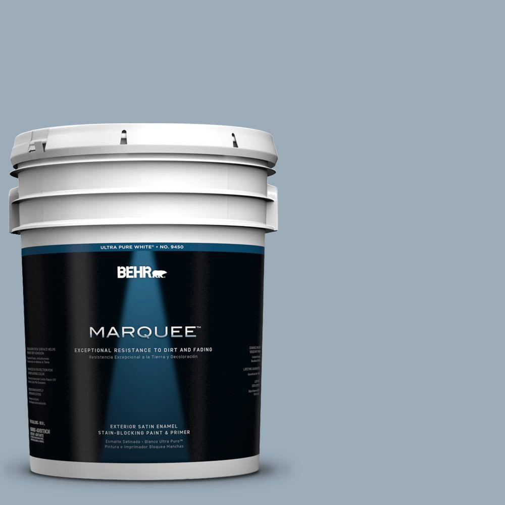 BEHR MARQUEE 5-gal. #570F-4 Blue Willow Satin Enamel Exterior Paint