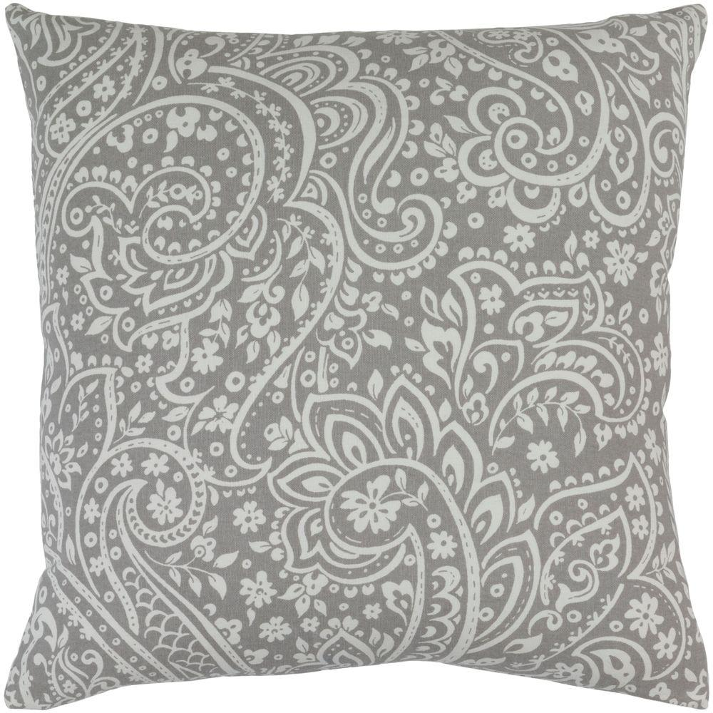 Solomon Gray Paisley 18 in. x 18 in. Decorative Pillow