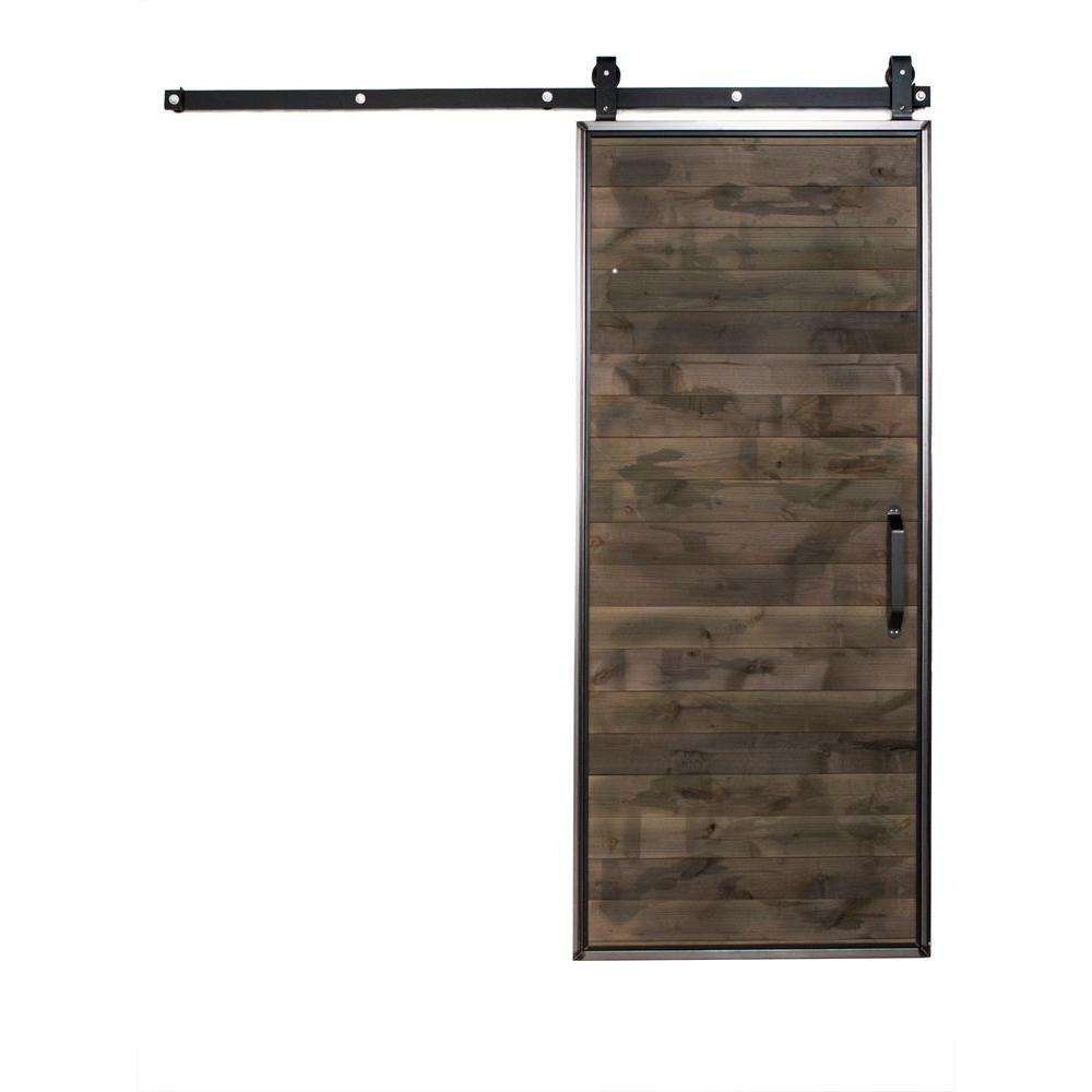 Rustica hardware 36 in x 84 in mountain modern home depot grey wood barn door with mountain - Barn door track hardware home depot ...