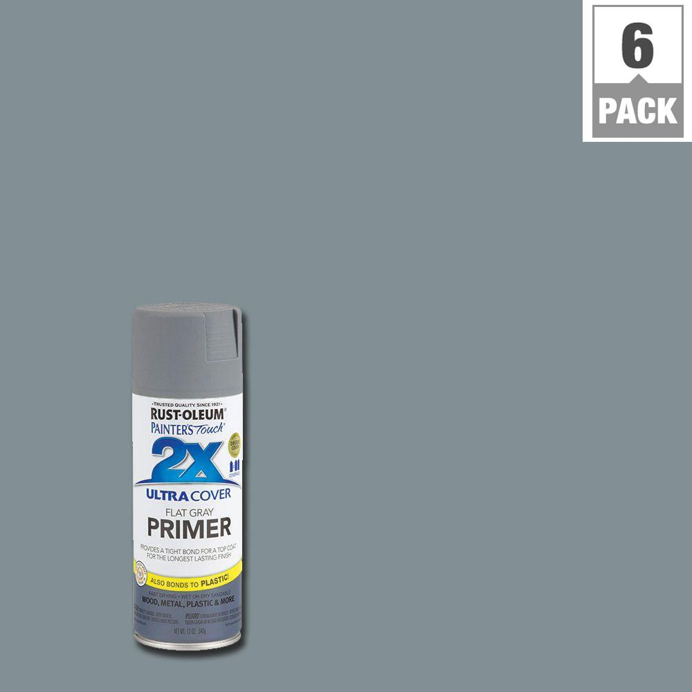 Rust-Oleum Painter's Touch 2X 12 oz. Flat Gray Primer General Purpose Spray Paint (6-Pack)