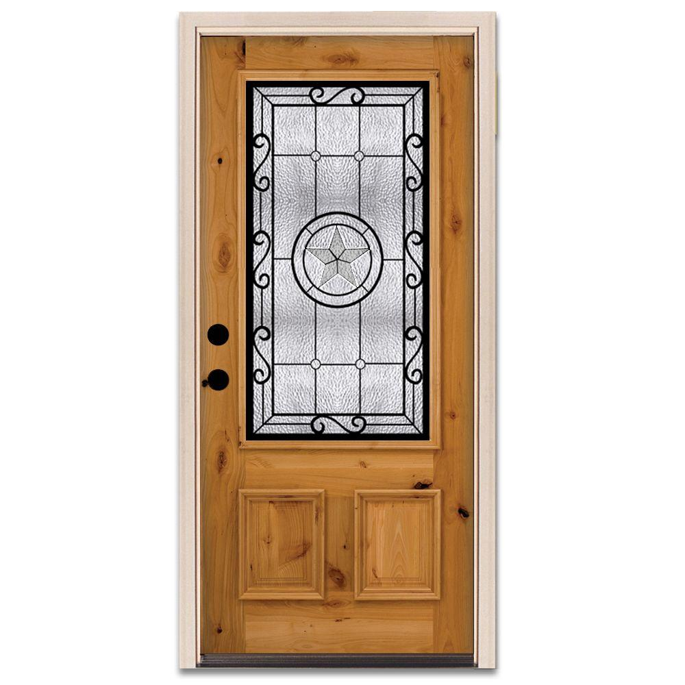 Star 3/4 Lite Prefinished Knotty Alder Wood Prehung Front Door-DISCONTINUED