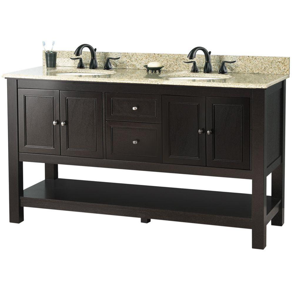 Foremost Gazette 61 in. Vanity in Espresso with Golden Hill Granite Vanity Top with White Double Bowl