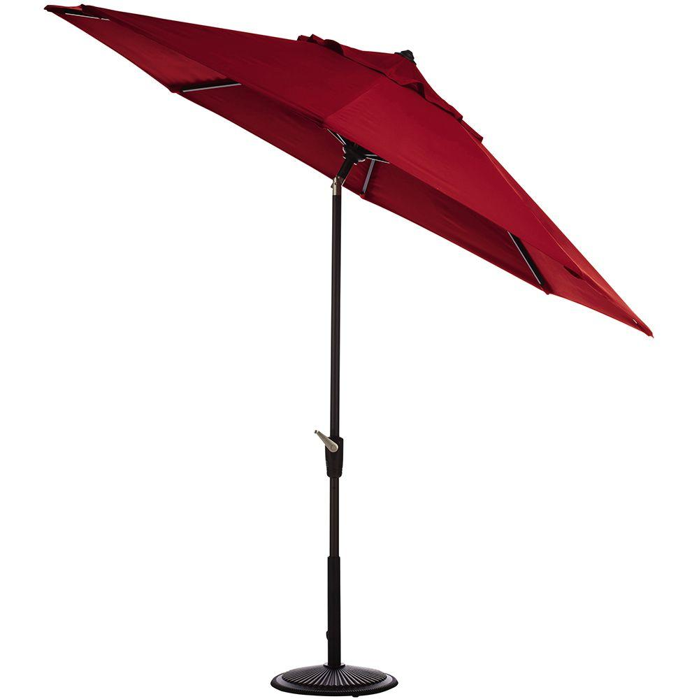Home Decorators Collection 6 ft. Auto-Tilt Patio Umbrella in Red Sunbrella with Black Frame