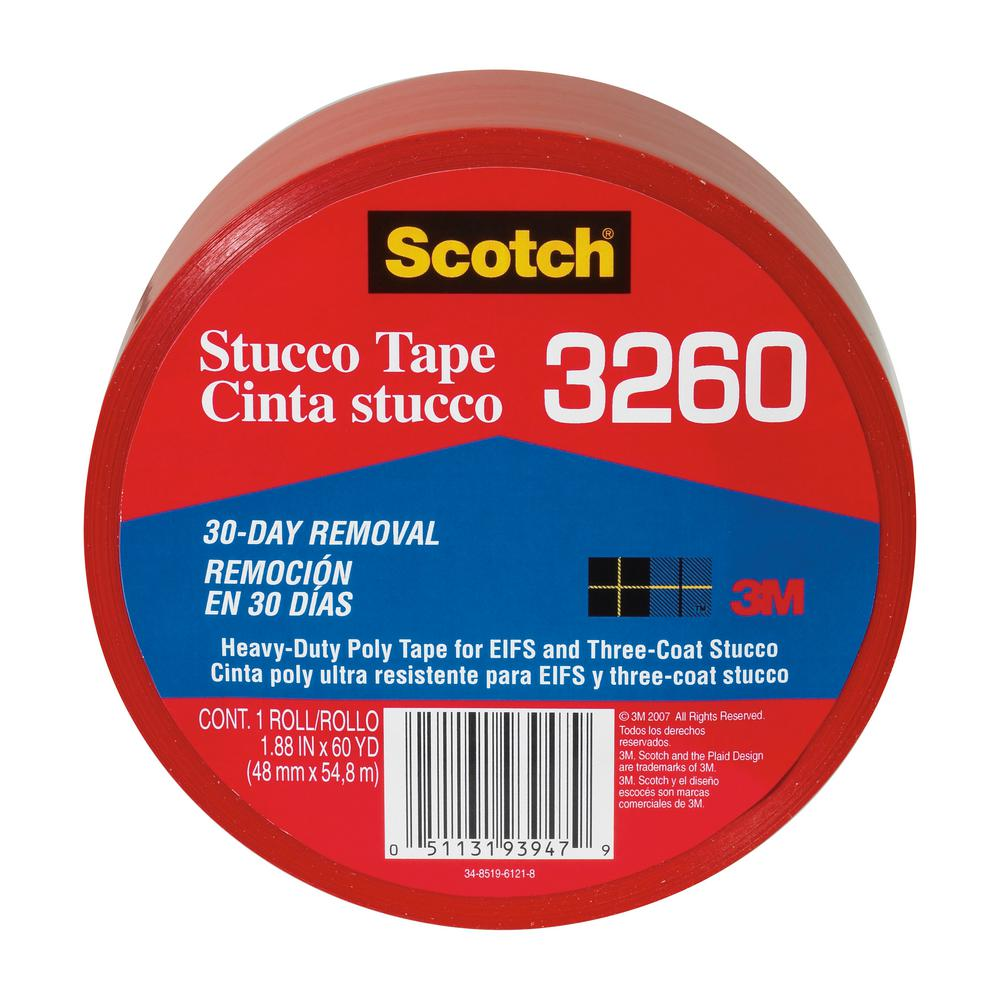 3M Scotch 1.88 in. x 60 yds. Heavy-Duty Red Poly Contractor Stucco Tape