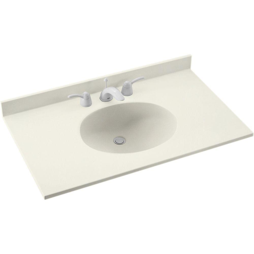 Ellipse 31 in. W Solid Surface Vanity Top in Bisque