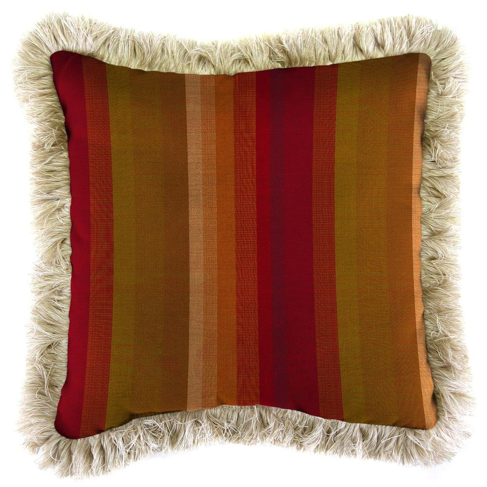 Jordan Manufacturing Sunbrella Astoria Sunset Square Outdoor Throw Pillow with Canvas Fringe