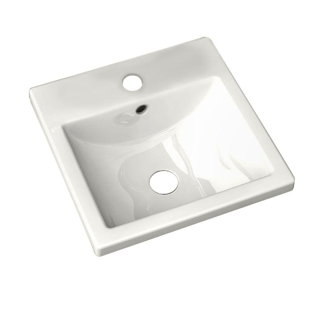 Studio Carre Countertop Bathroom Sink with Center Hole Only and Rear