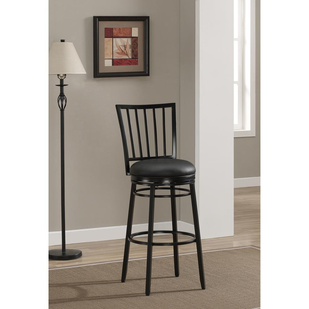 American Heritage Easton 26 in. Black Cushioned Bar Stool
