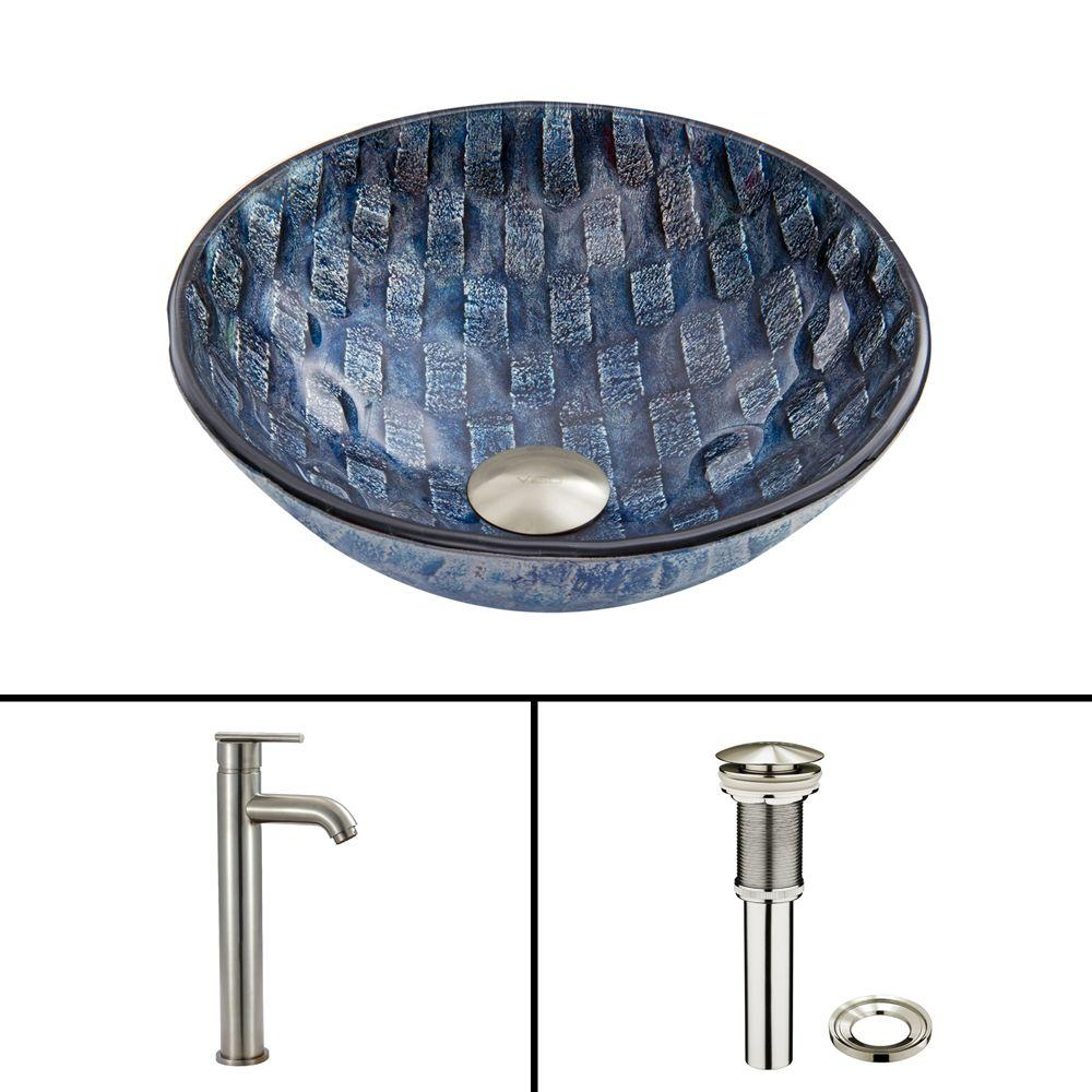 Vigo Glass Vessel Sink in Rio and Seville Faucet Set in