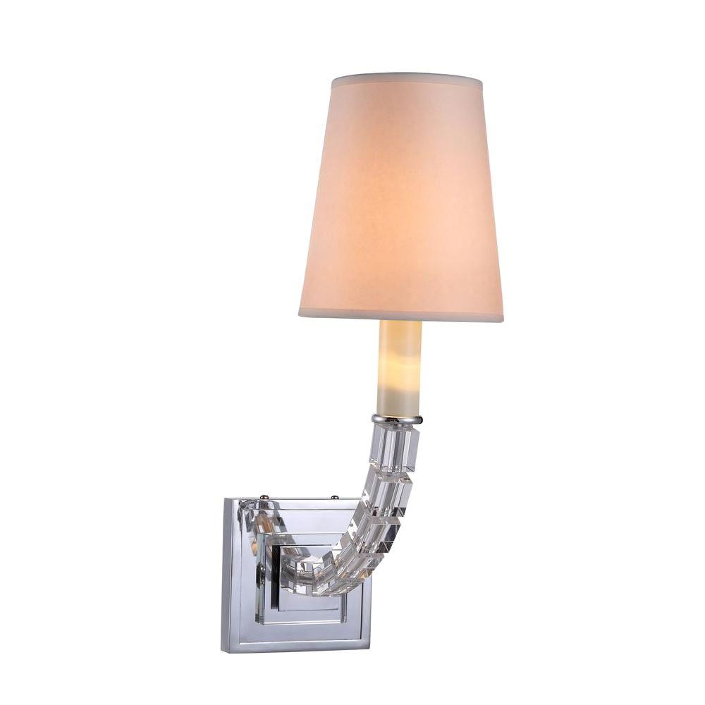 Elegant Lighting Cristal 1-Light Polished Nickel Wall Sconce with Clear
