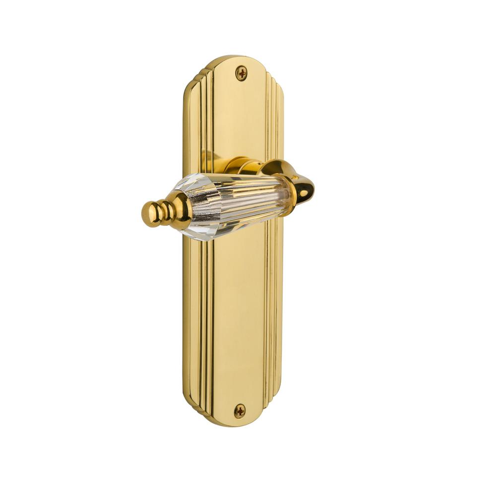 Deco Plate Single Dummy Parlor Lever in Unlacquered Brass