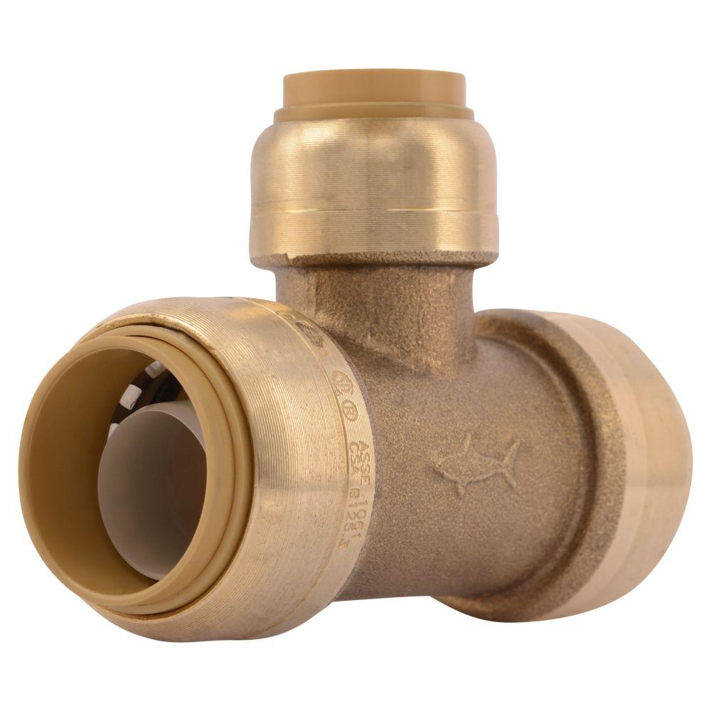 SharkBite 3/4 in. x 3/4 in. x 1/2 in. Brass Push-to-Connect Reducer Tee