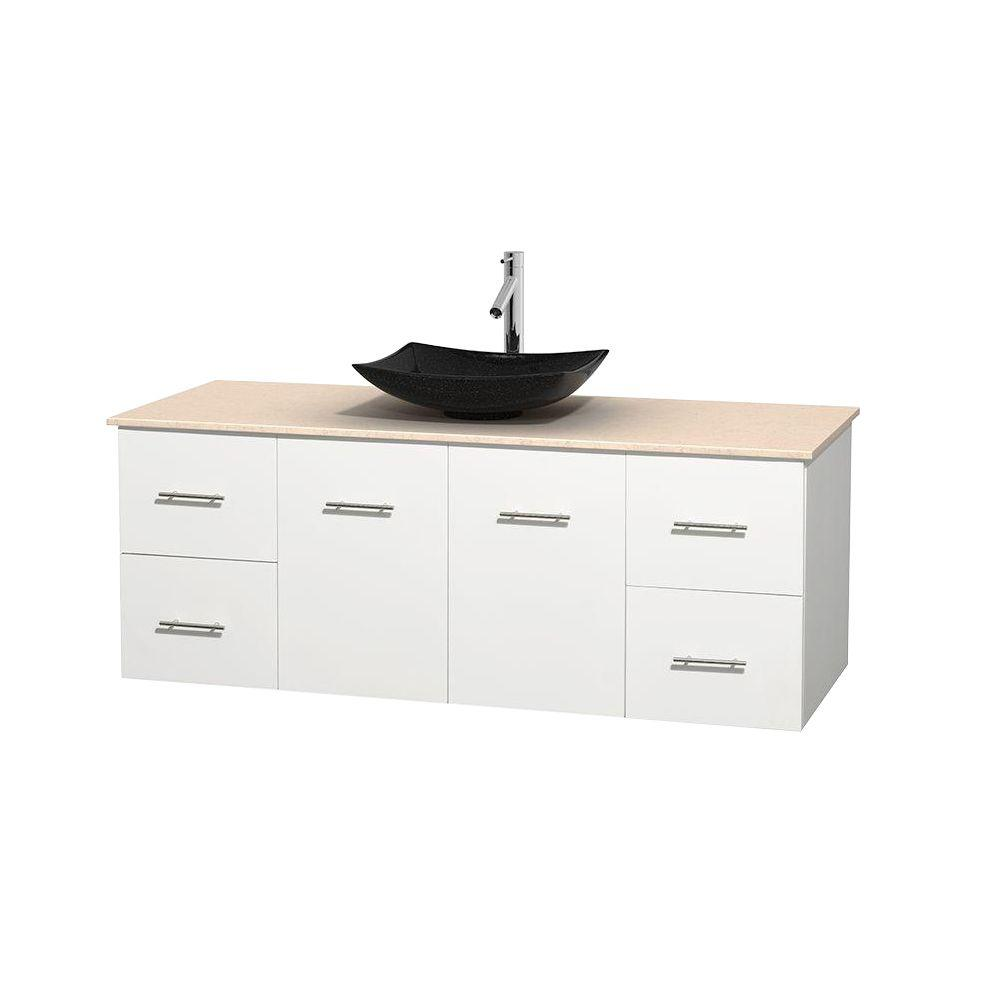 Wyndham Collection Centra 60 in. Vanity in White with Marble Vanity
