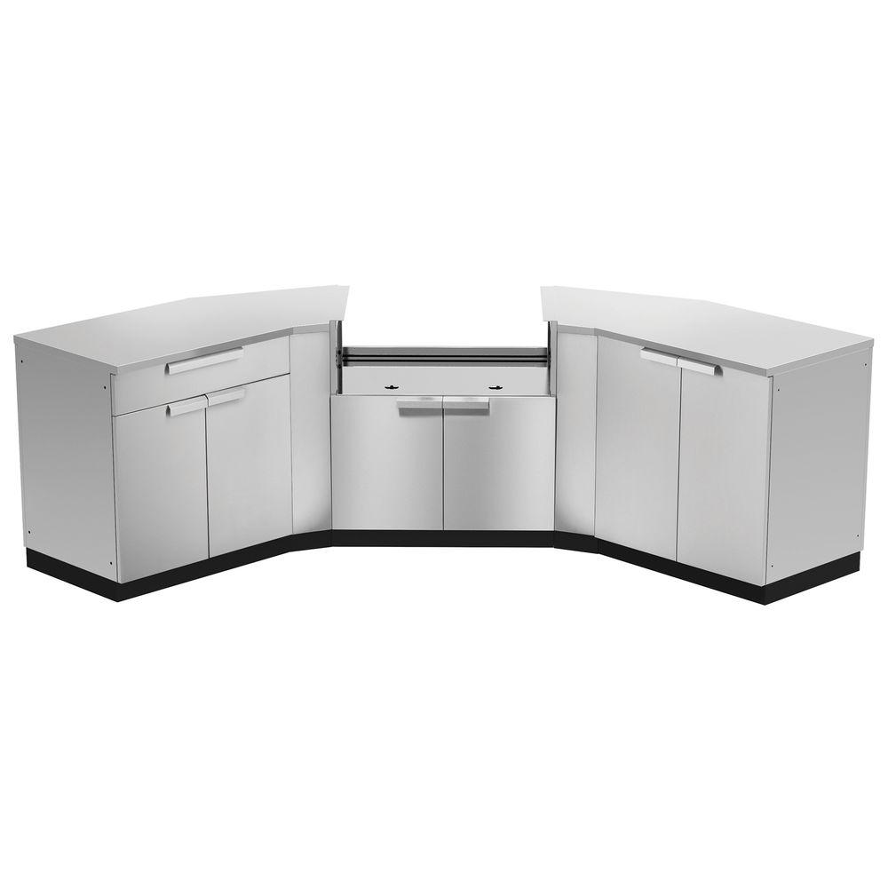 Cal flame outdoor kitchen stainless steel 2 drawer storage for Stainless outdoor kitchen