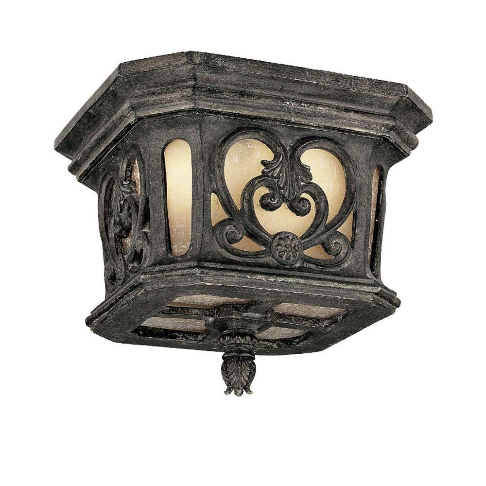 Acclaim Lighting Manorgate Collection Ceiling-Mount 2-Light Outdoor Black Coral Light Fixture -Discontinued