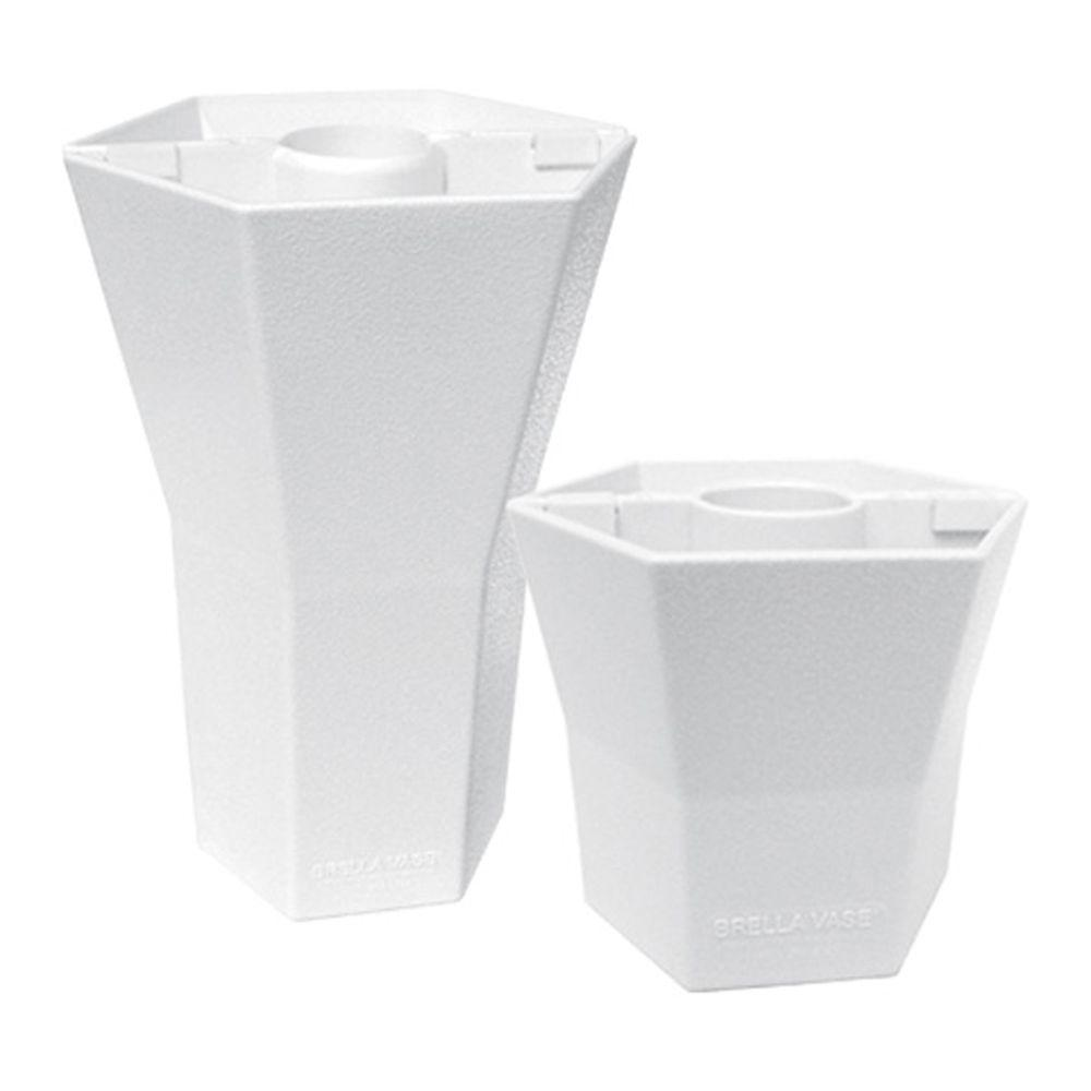 Brella Vase Patio Umbrella Vases in Opaque Cottage White (Duet Pack 5 in. and 10 in.)-DISCONTINUED