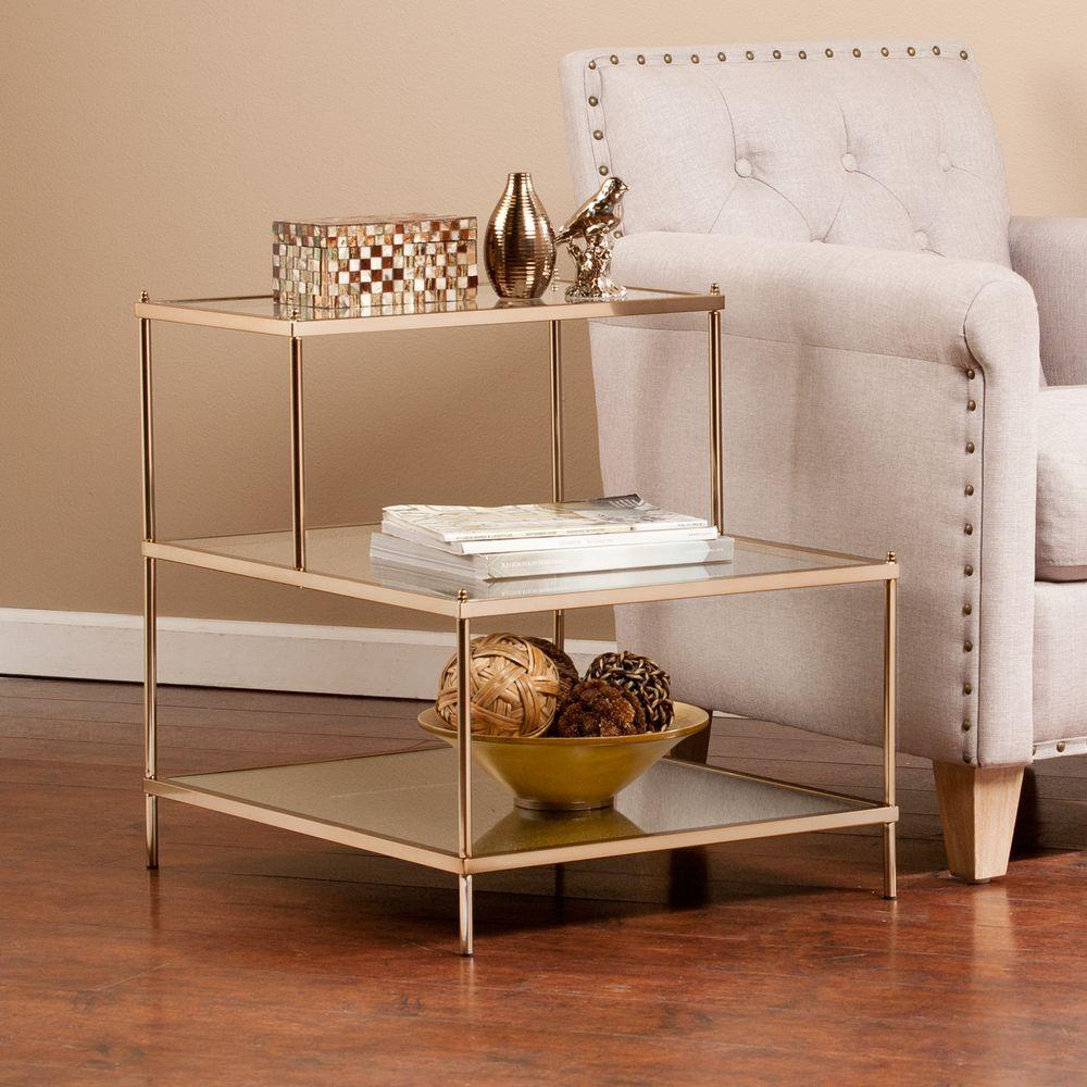 Southern Enterprises Melrose 2-Tier Metal and Glass Accent Table in
