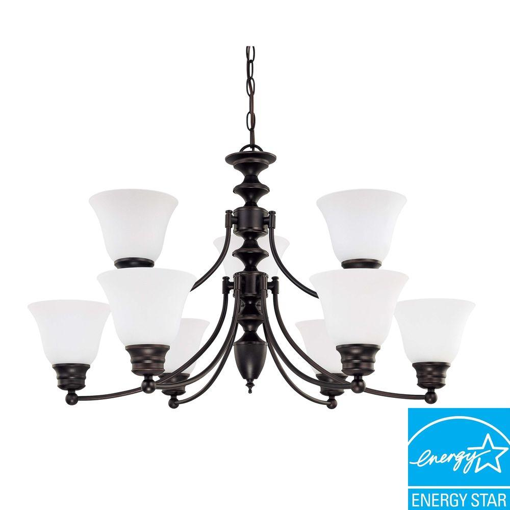 Glomar 9-Light Ceiling Mahogany Bronze Fluorescent Chandelier-HD-3361 - The Home