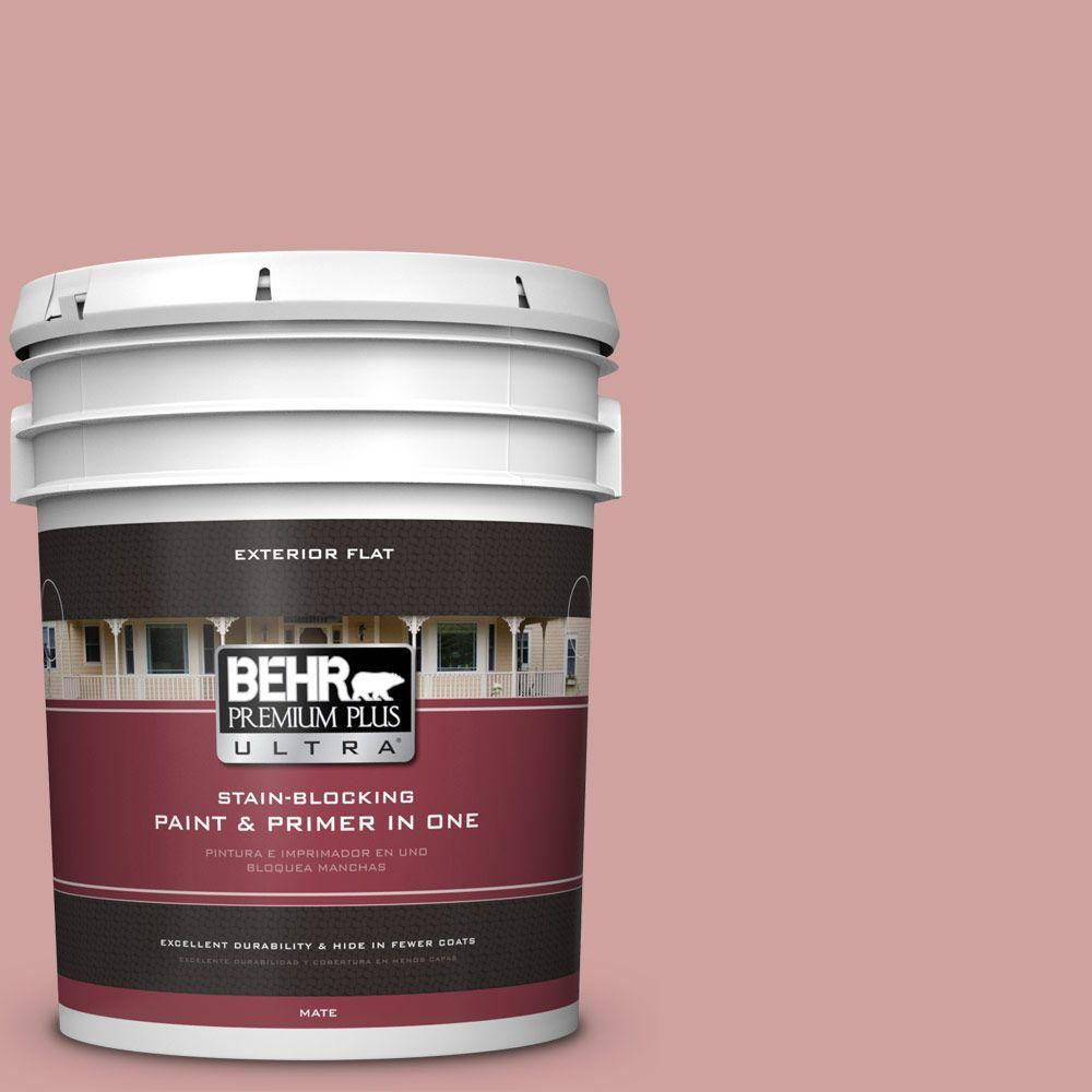 BEHR Premium Plus Ultra 5-gal. #S150-3 Rose Pottery Flat Exterior Paint