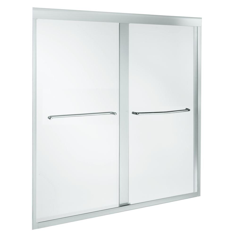 KOHLER Fluence 59-5/8 in. x 58-5/16 in. Heavy Semi-Frameless Sliding Bathtub Door in Bright Polished Silved with Clear Glass