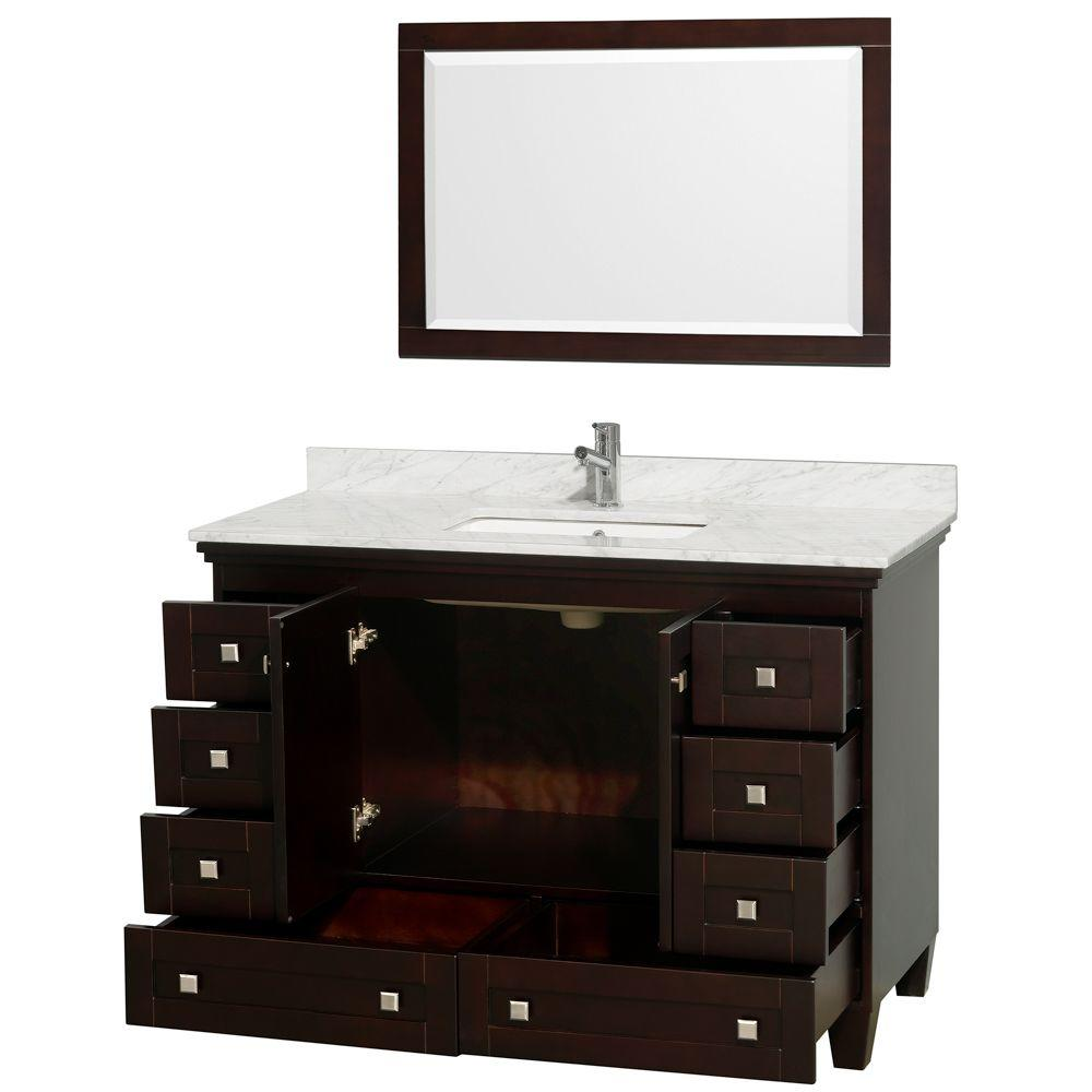 Wyndham Collection Acclaim 48 In Vanity In Espresso With Marble Vanity Top In Carrara White Square Sink And Mirror Wcv800048sescmunsm24 The Home Depot