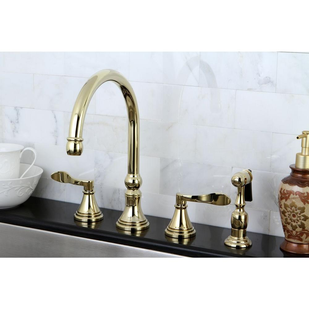 Kingston Brass French Handle Standard Kitchen Faucet With Side - Brass faucets kitchen