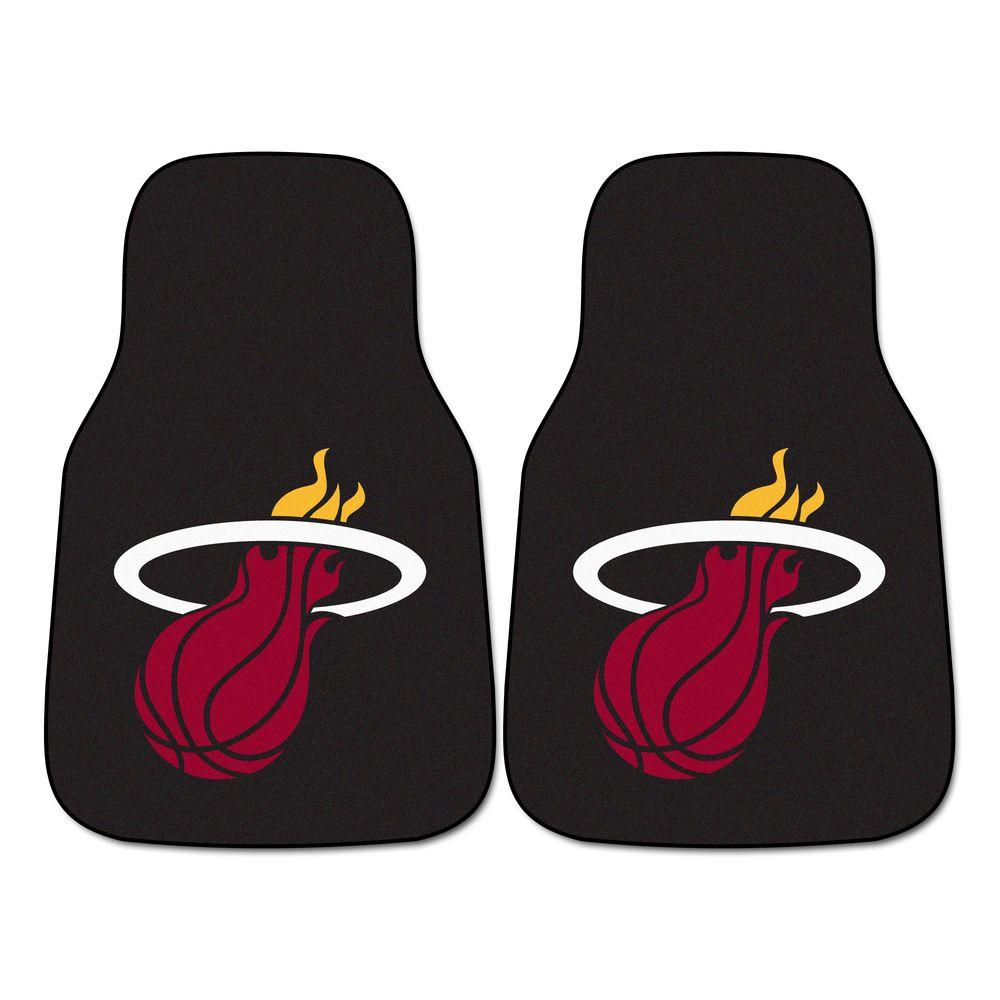 FANMATS Miami Heat 18 in. x 27 in. 2-Piece Carpeted Car Mat Set