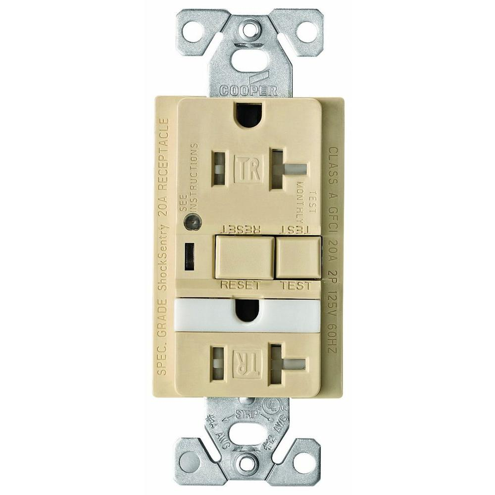 Eaton 20 Amp Combination GFCI Receptacle with Nightlight - Ivory