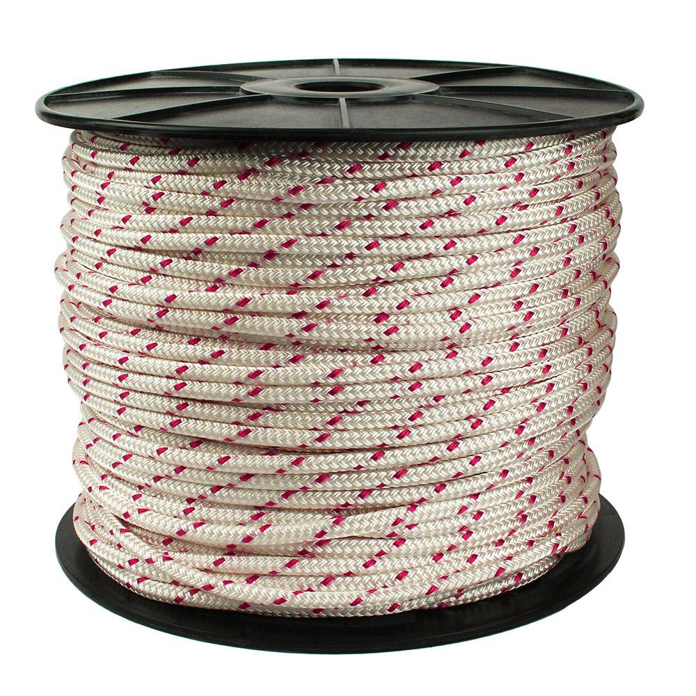 5/16 in. x 600 ft. Diamond Braid Polypropylene Rope in White/Red
