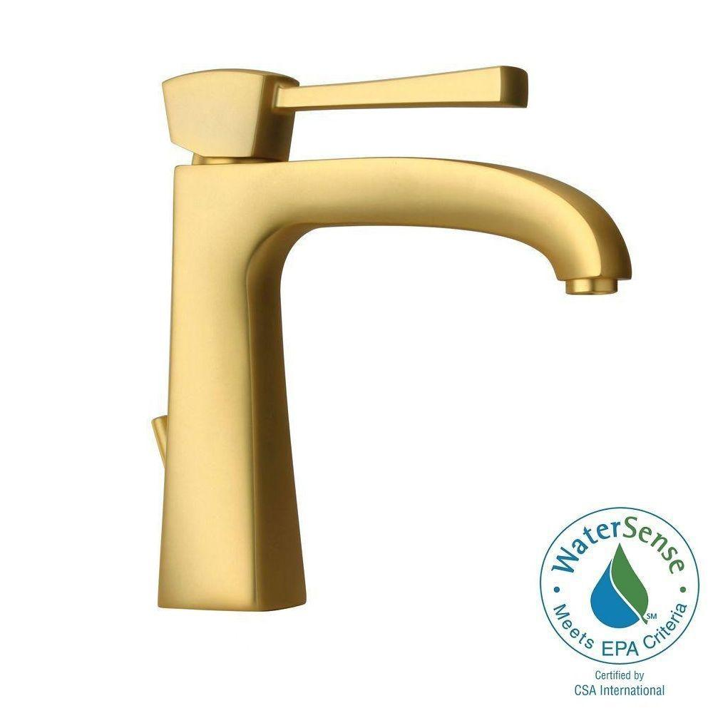 LaToscana Lady Single Hole 1-Handle Low-Arc Bathroom Faucet in Satin Gold