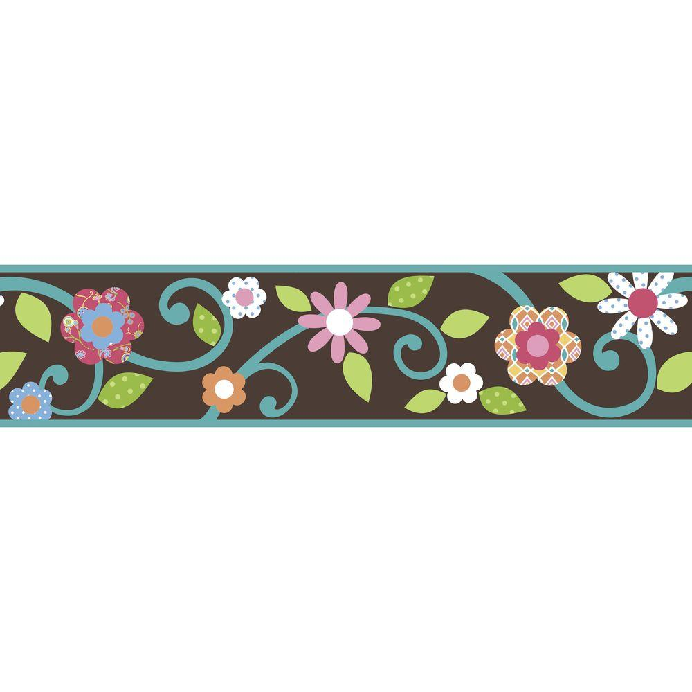 9.25 in. Brown/Teal Scroll Floral Peel and Stick Border