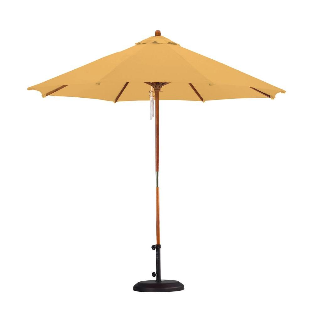 9 ft. Wood Pulley Open Patio Umbrella in Yellow Polyester