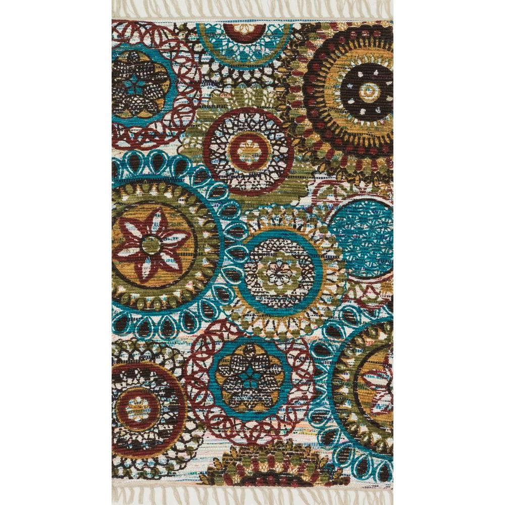 Loloi Rugs Aria Lifestyle Collection Ivory/Multi 1 ft. 8 in. x 3 ft. Area Rug