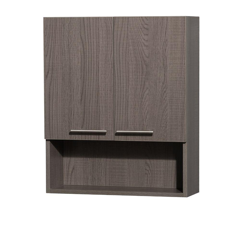 Wyndham Collection Amare 24 in. W x 29 in. H x 8-3/4 in. D Bathroom Storage Wall Cabinet in Grey Oak