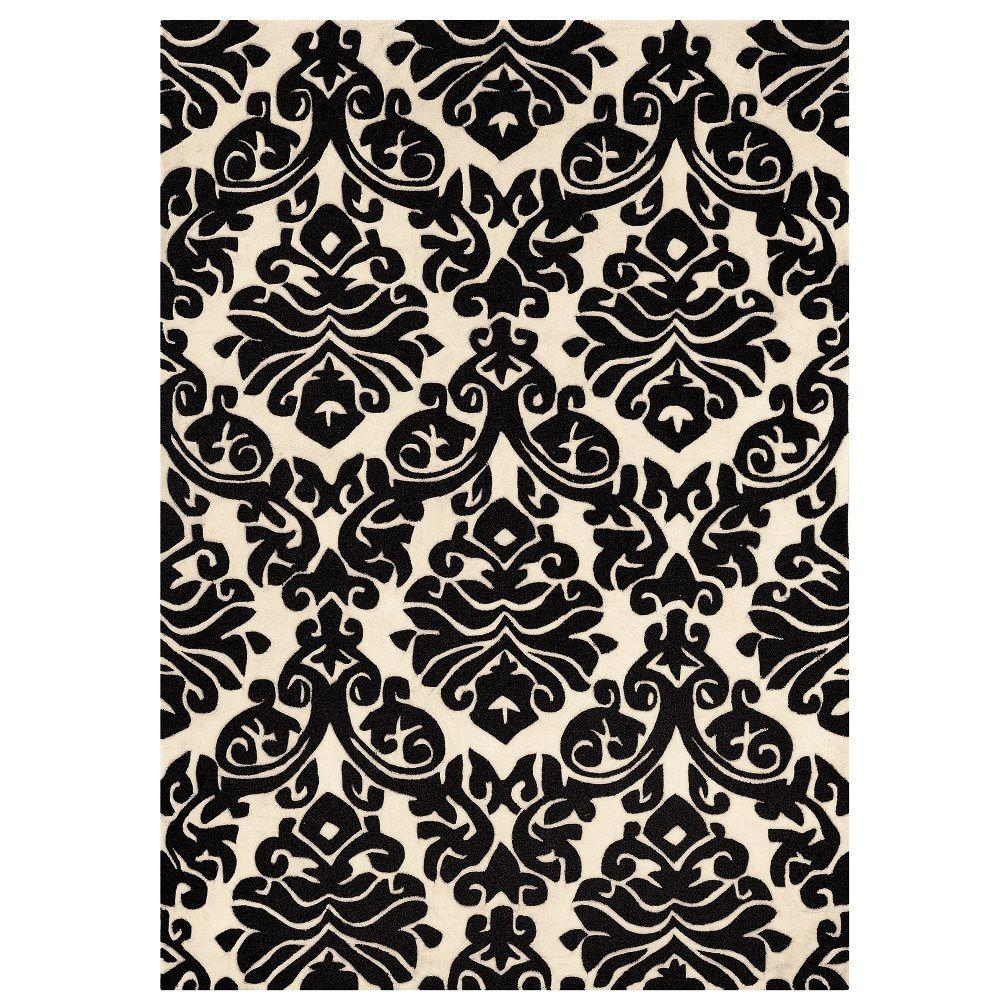 Linon Home Decor Trio Collection Black and White 1 ft. 10 in. x 2 ft. 10 in. Indoor Area Rug