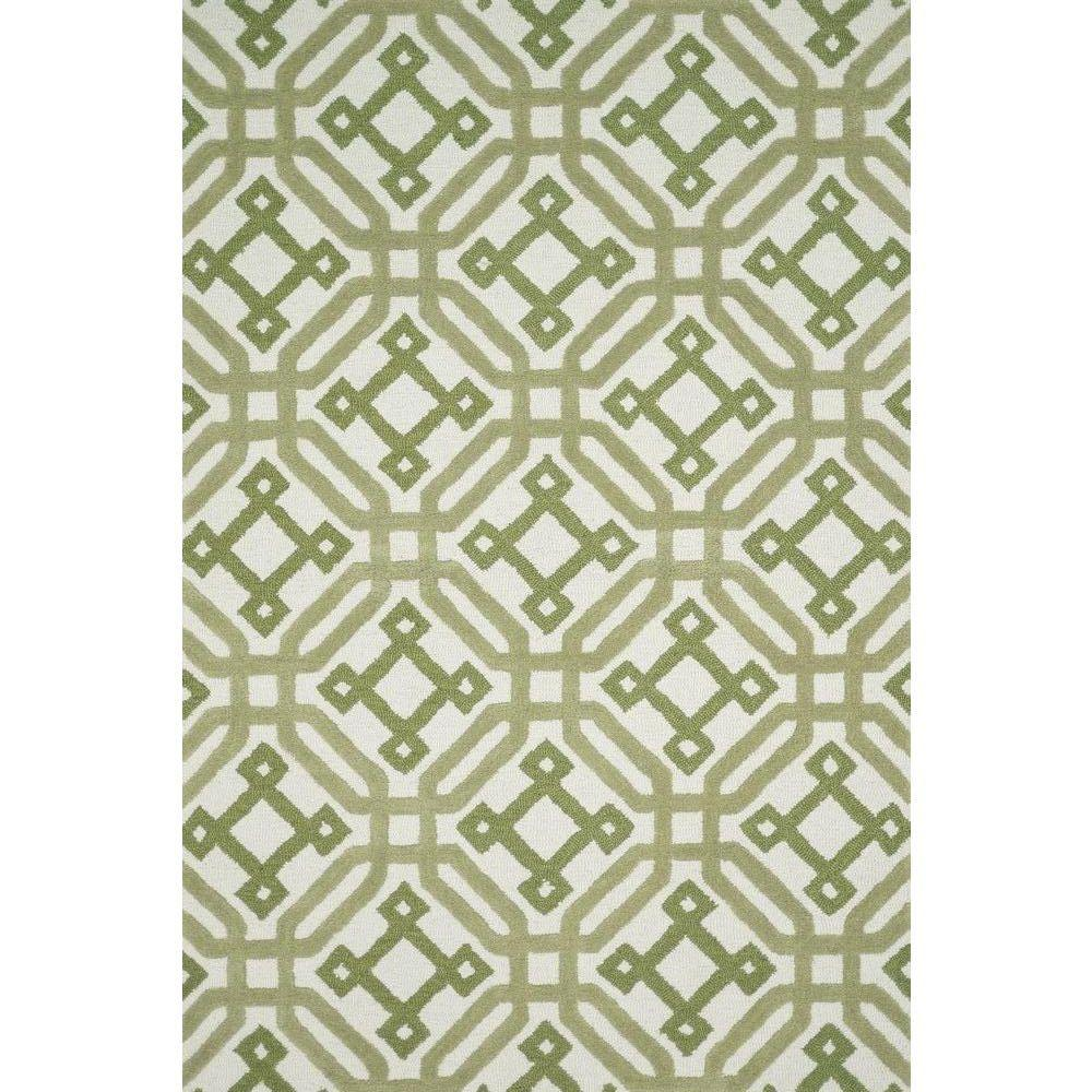 Weston Lifestyle Collection Ivory/Green 5 ft. x 7 ft. 6 in.