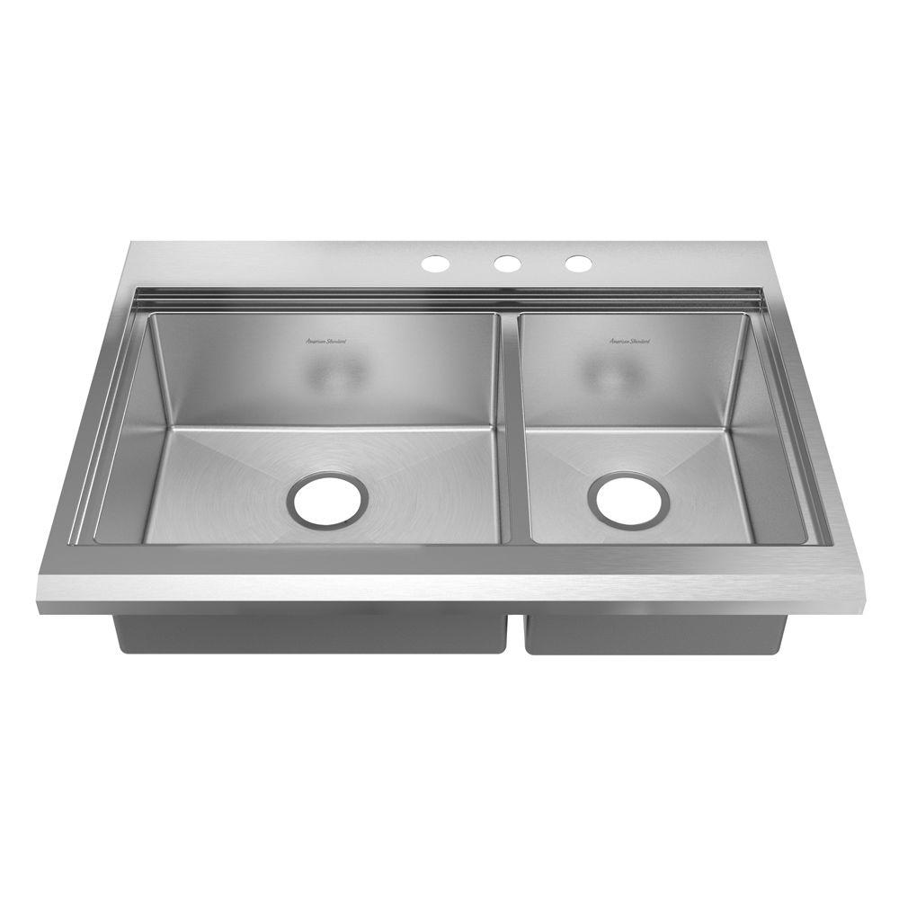 American Standard Prevoir Appliance Drop-In Brushed Stainless Steel 36x25.5x10 in. 3-Hole Double Combo Bowl Kitchen Sink-DISCONTINUED