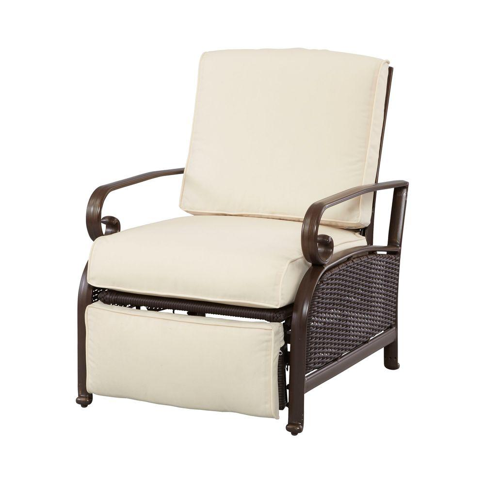 Martha Stewart Living Cedar Island All-Weather Wicker Patio Recliner with Cushion Insert (Slipcovers Sold Separately)