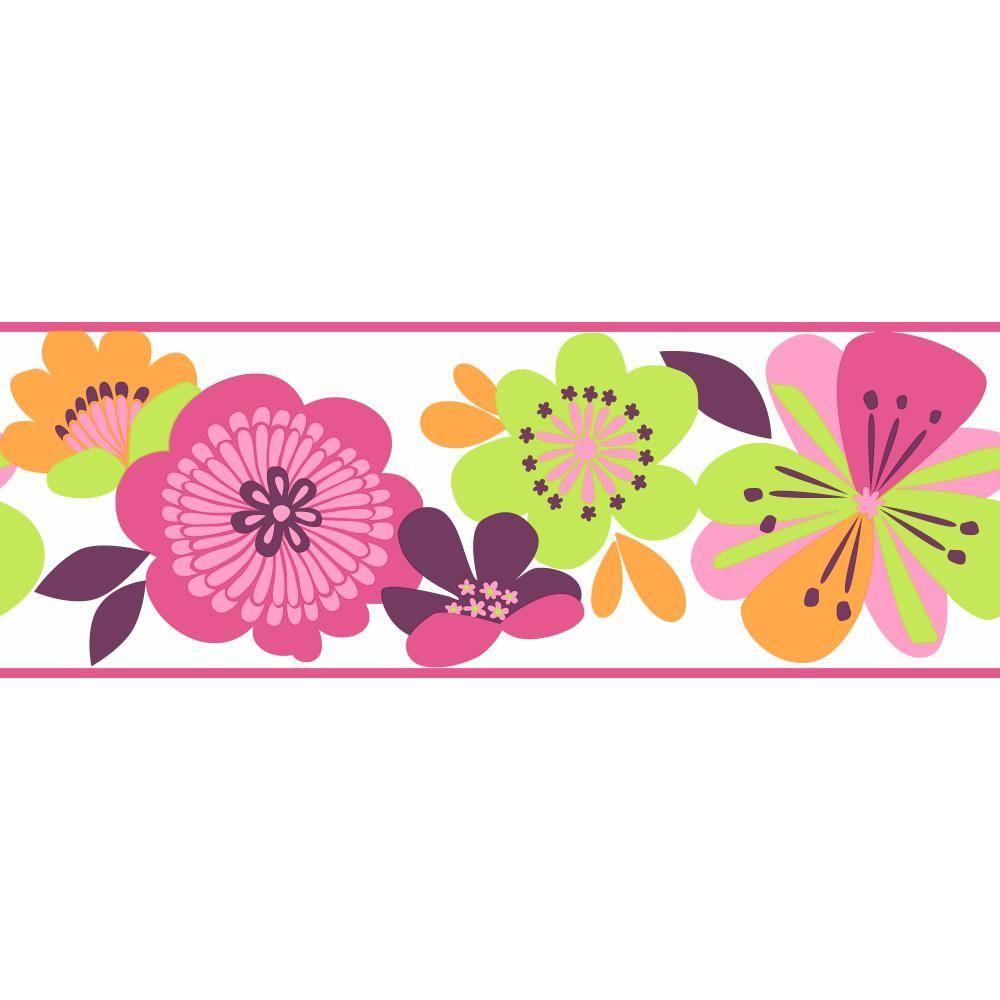 York Wallcoverings 9 in. Cool Kids Large Floral Border-KS2227B - The
