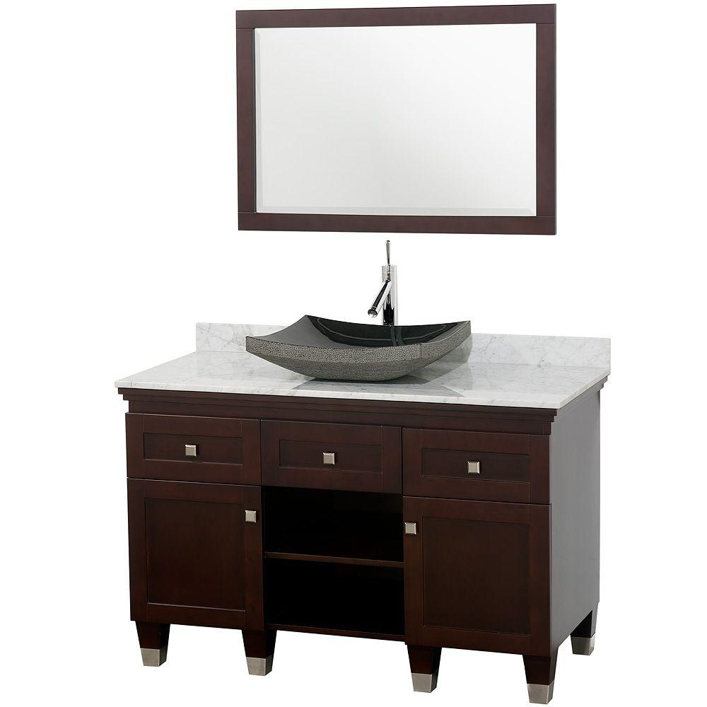 Wyndham collection premiere 48 in vanity in espresso with for Black bathroom vanity with white marble top