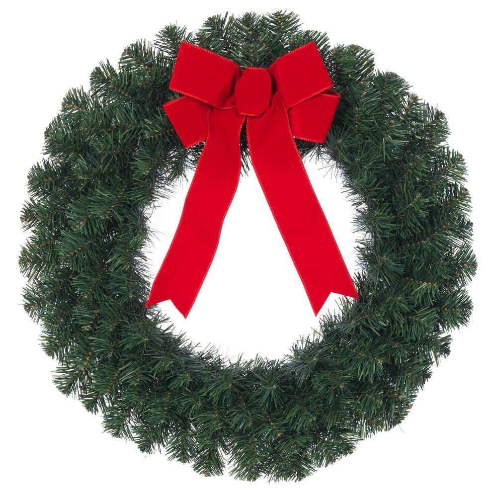 null 24 in. Noble Pine Artificial Wreath with Red Bow (4-Pack)